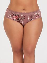 Walnut Floral Lace Cotton Hipster Panty, FLORALS-NUDE, hi-res