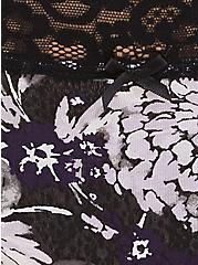 Black Snakeskin Print & Floral Wide Lace Cotton Hipster Panty, FLORAL SNAKE-BLACK, alternate