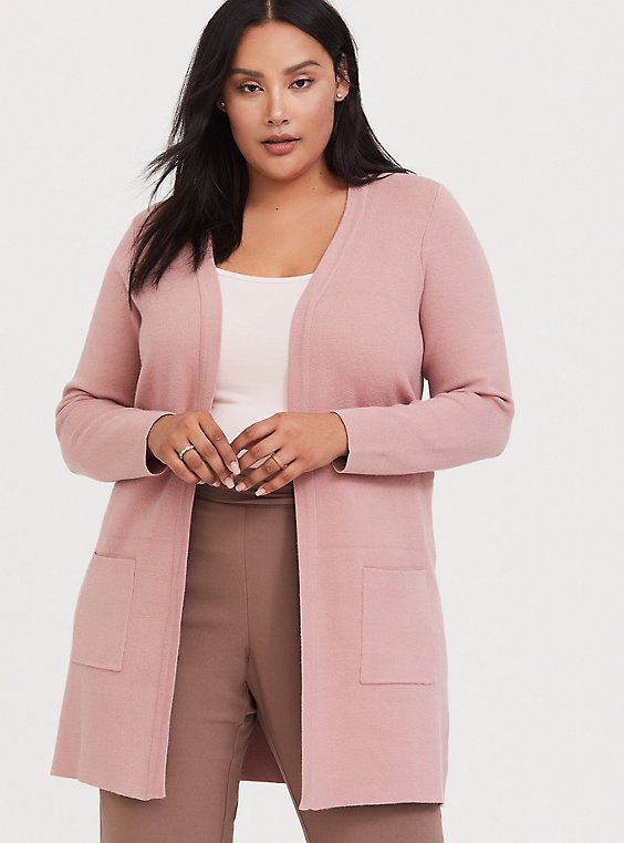 Plus Size Dusty Pink Open Front Cardigan, , hi-res