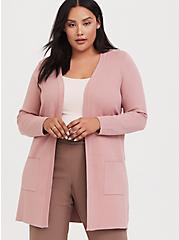 Dusty Pink Open Front Cardigan, DUSTY QUARTZ, hi-res