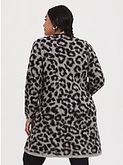 Grey Leopard Longline Cardigan, LEOPARD - GREY, alternate