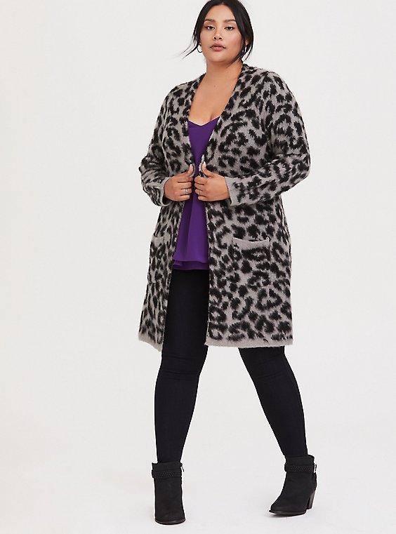 Grey Leopard Longline Cardigan, , hi-res