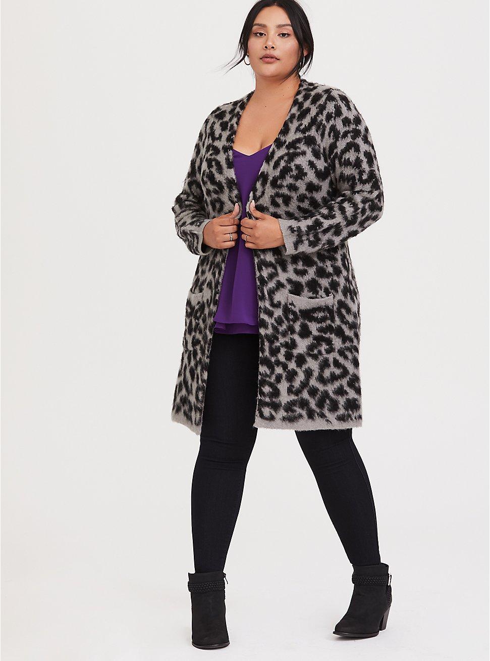 Grey Leopard Longline Cardigan, LEOPARD - GREY, hi-res