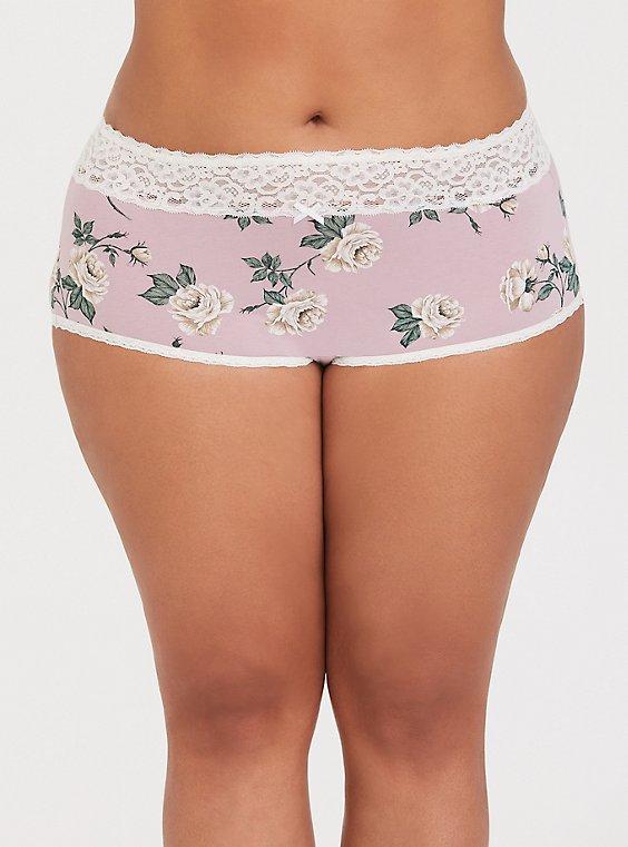 Mauve Pink Floral Wide Lace Cotton Brief Panty, FLORALS-PURPLE, hi-res
