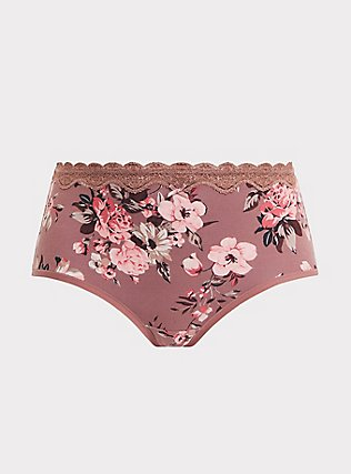 Plus Size Walnut Floral Lace Cotton Brief Panty, FLORALS-NUDE, flat