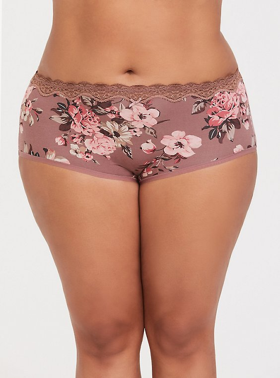Walnut Floral Lace Cotton Brief Panty, , hi-res