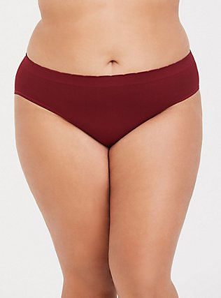 Plus Size It's Fall Y'all Dark Red Seamless Hipster Panty, BIKING RED, hi-res