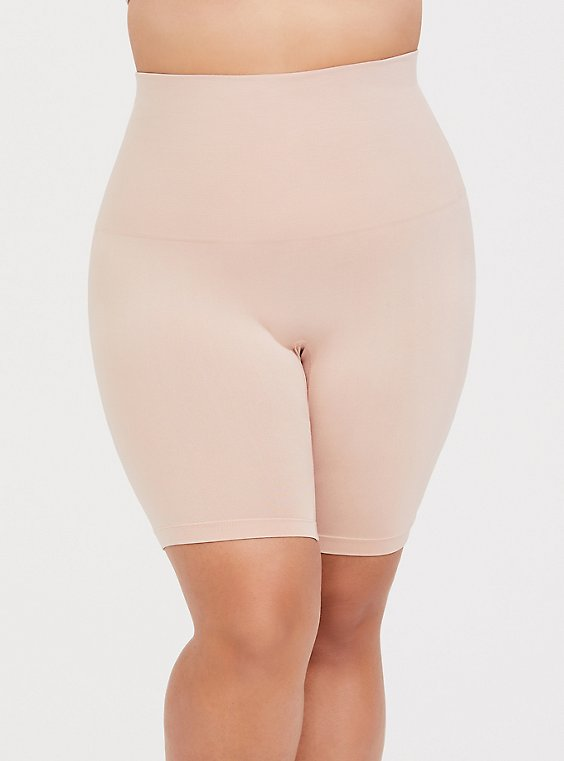 Plus Size Beige Seamless High Waist Bike Short, , hi-res