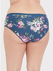 Plus Size Super Soft Teal Floral Microfiber Cheeky Panty, FLORALS-BLUE, alternate