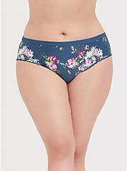 Plus Size Super Soft Teal Floral Microfiber Cheeky Panty, FLORALS-BLUE, hi-res