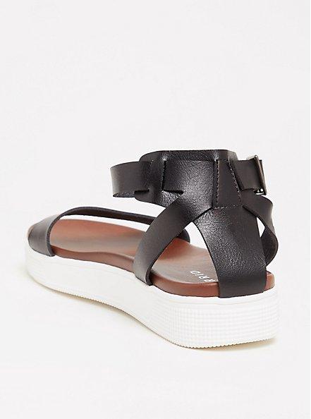 Black Faux Leather Ankle Strap Flatform (WW), BLACK, alternate
