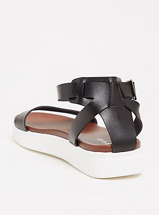Black Faux Leather Ankle Strap Flatform (WW), BLACK, alternate