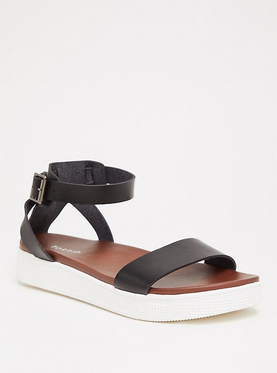 Plus Size Black Faux Leather Ankle Strap Flatform (WW), , hi-res