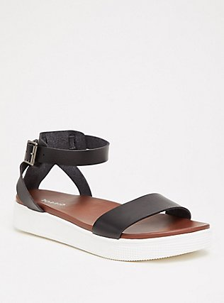 Black Faux Leather Ankle Strap Flatform (WW), BLACK, hi-res