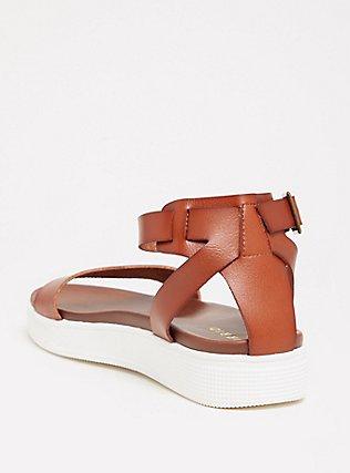 Plus Size Cognac Faux Leather Ankle Strap Flatform (WW), COGNAC, alternate