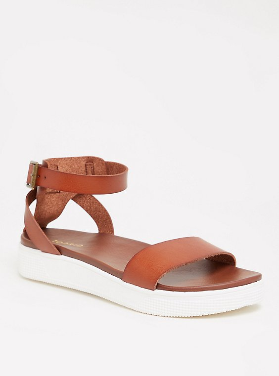 Cognac Faux Leather Ankle Strap Flatform (WW), , hi-res
