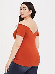 Orange Terracotta Strappy Off Shoulder Foxy Tee, POTTERS CLAY, alternate