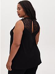 Black Studio Knit Lace Mock Neck Tank, DEEP BLACK, alternate