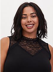 Black Studio Knit Lace Mock Neck Tank, DEEP BLACK, hi-res