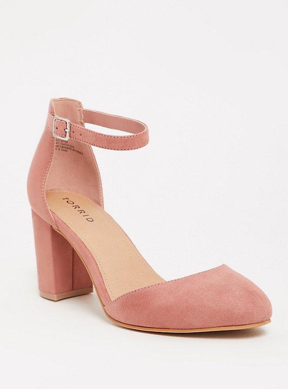 Plus Size Mauve Pink Faux Suede D'Orsay Ankle Strap Pump (WW), MAUVE, hi-res