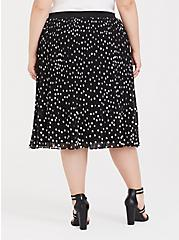 Black Polka Dot Chiffon Pleated Midi Skirt, DOT -BLACK, alternate