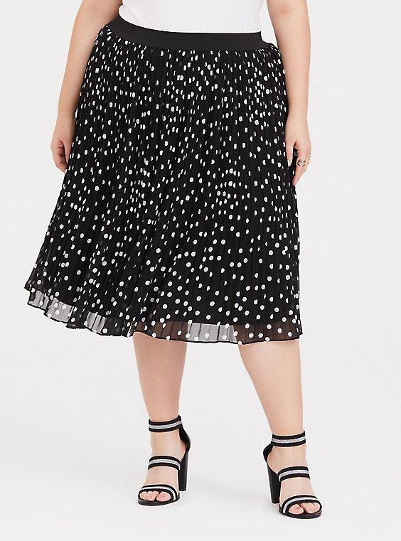 Black Polka Dot Chiffon Pleated Midi Skirt, , hi-res