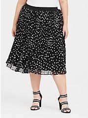 Black Polka Dot Chiffon Pleated Midi Skirt, DOT -BLACK, hi-res