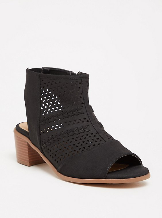 Plus Size Black Perforated Cutout Bootie (WW), , hi-res