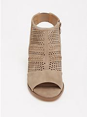 Taupe Perforated Cutout Bootie (WW), , alternate