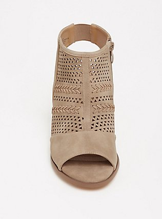 Plus Size Taupe Perforated Cutout Bootie (WW), TAN/BEIGE, alternate