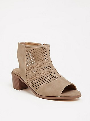 Plus Size Taupe Perforated Cutout Bootie (WW), TAN/BEIGE, hi-res