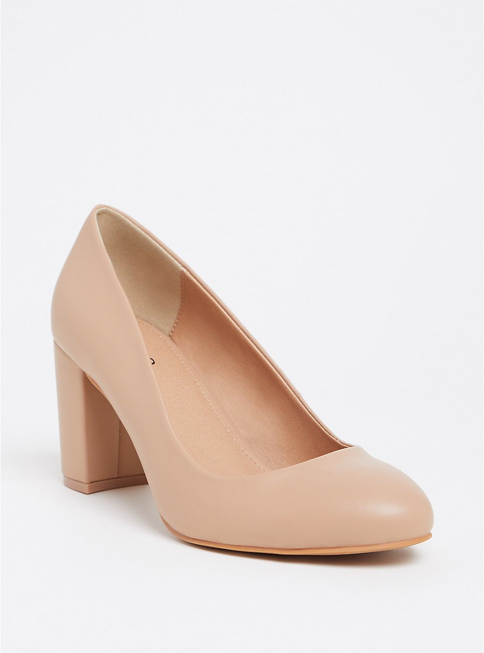 Beige Faux Leather Tapered Heel Pump (WW), , hi-res