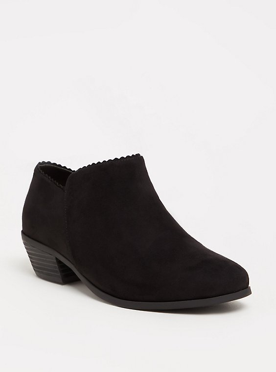 Plus Size Black Scalloped Ankle Boot (WW), , hi-res