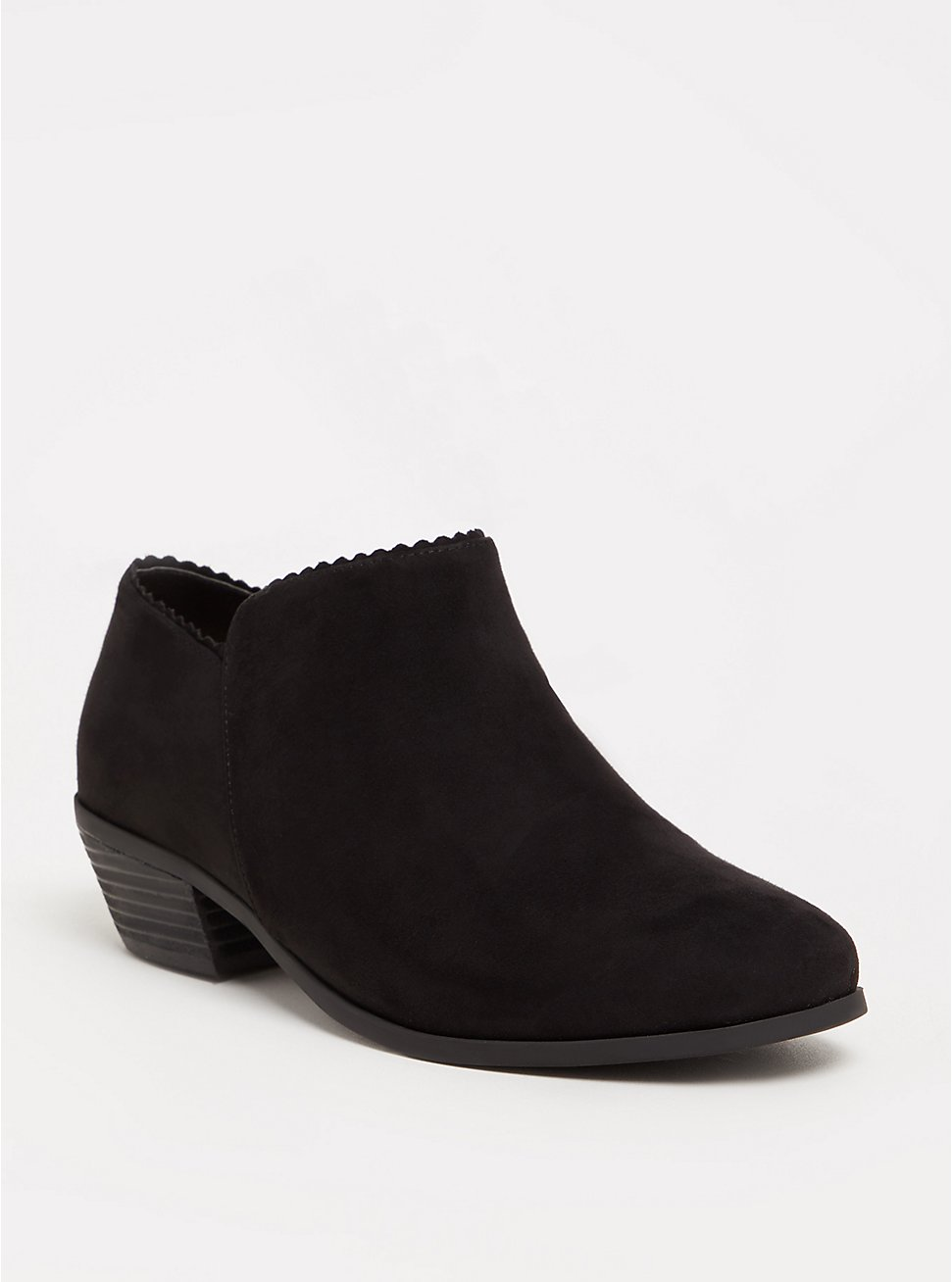 Plus Size Black Scalloped Ankle Boot (WW), BLACK, hi-res