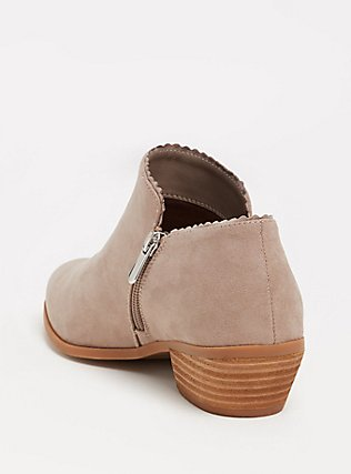 Taupe Faux Suede Scalloped Ankle Boot (WW), TAN/BEIGE, alternate