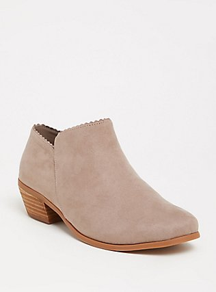 Plus Size Taupe Faux Suede Scalloped Ankle Boot (WW), TAN/BEIGE, hi-res