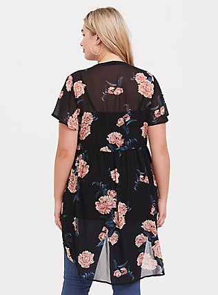 Lexie - Black Floral Chiffon Hi-Lo Tunic, MULTI, alternate