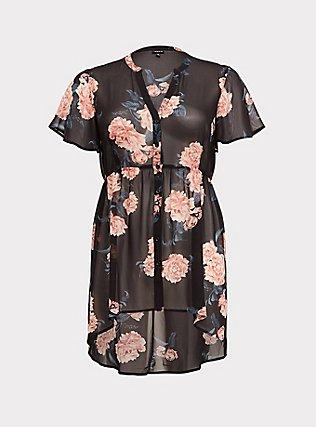 Plus Size Lexie - Black Floral Chiffon Hi-Lo Tunic, MULTI, flat