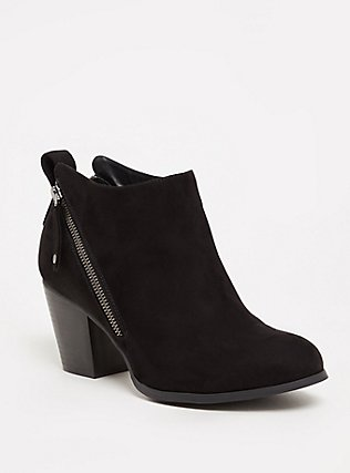 Plus Size Black Faux Suede Double Zip Bootie (WW), BLACK, hi-res