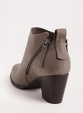 Grey Faux Leather Double Zip Bootie (WW), GREY, alternate