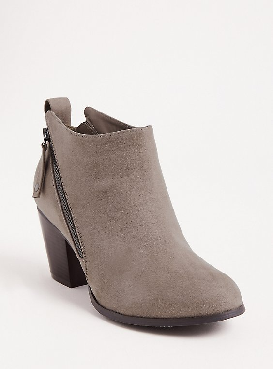 Grey Faux Leather Double Zip Bootie (WW), , hi-res