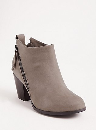 Grey Faux Leather Double Zip Bootie (WW), GREY, hi-res