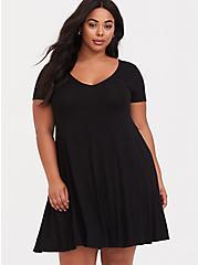 Black Jersey Fluted Dress, DEEP BLACK, alternate
