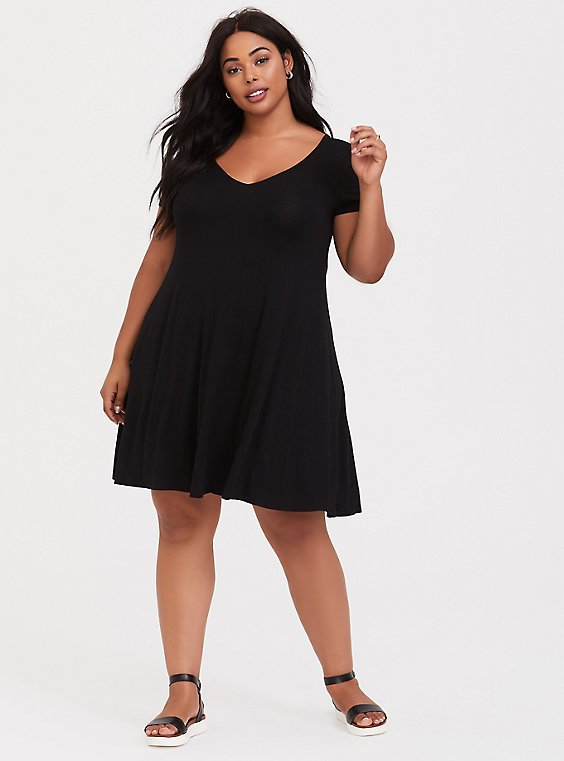 Plus Size Black Jersey Fluted Dress, , hi-res