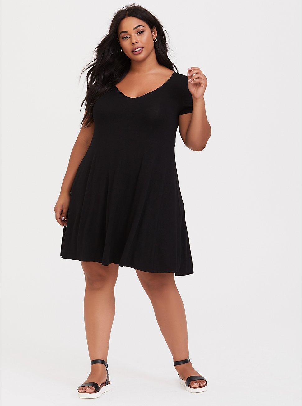 Black Jersey Fluted Dress