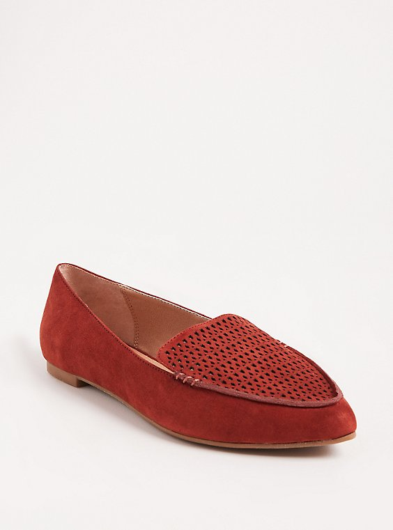 Brick Red Laser Cut Pointed Toe Loafer (WW), , hi-res