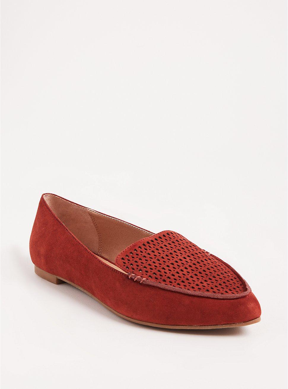 Brick Red Laser Cut Pointed Toe Loafer (WW), ORANGE, hi-res