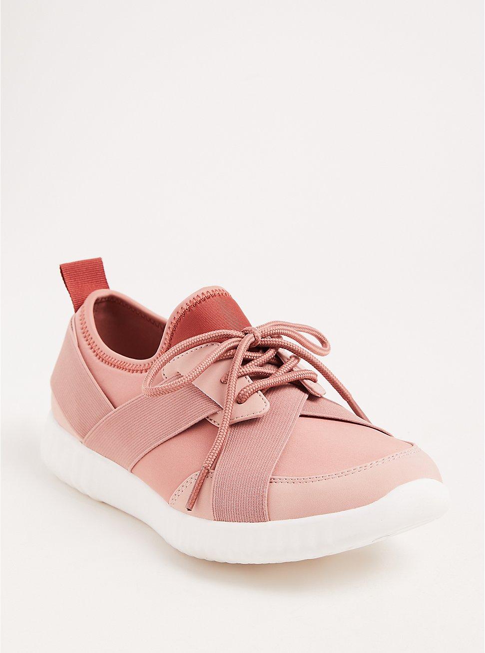 Plus Size Pink Two-Tone Strappy Sneakers (WW), BLUSH, hi-res