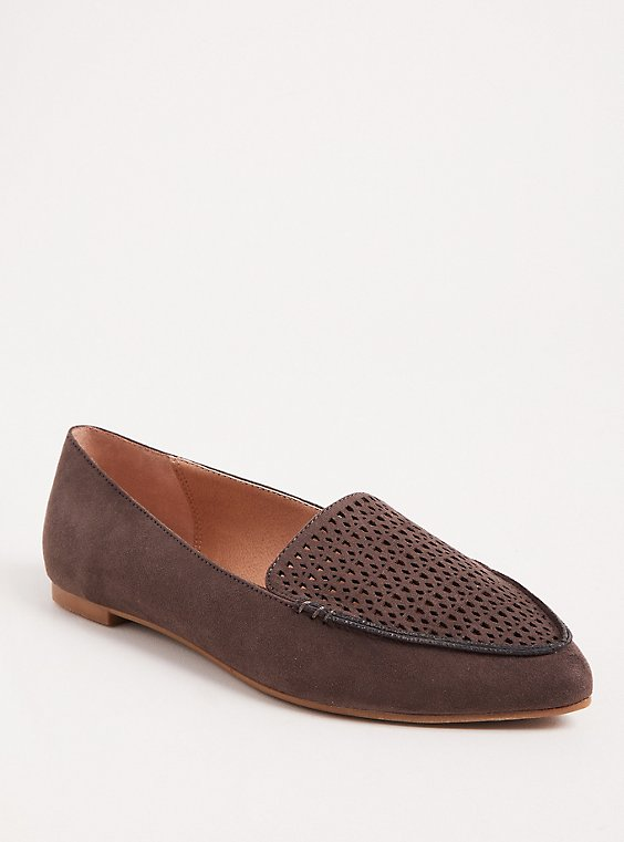Grey Laser Cut Pointed Toe Loafer (WW), , hi-res