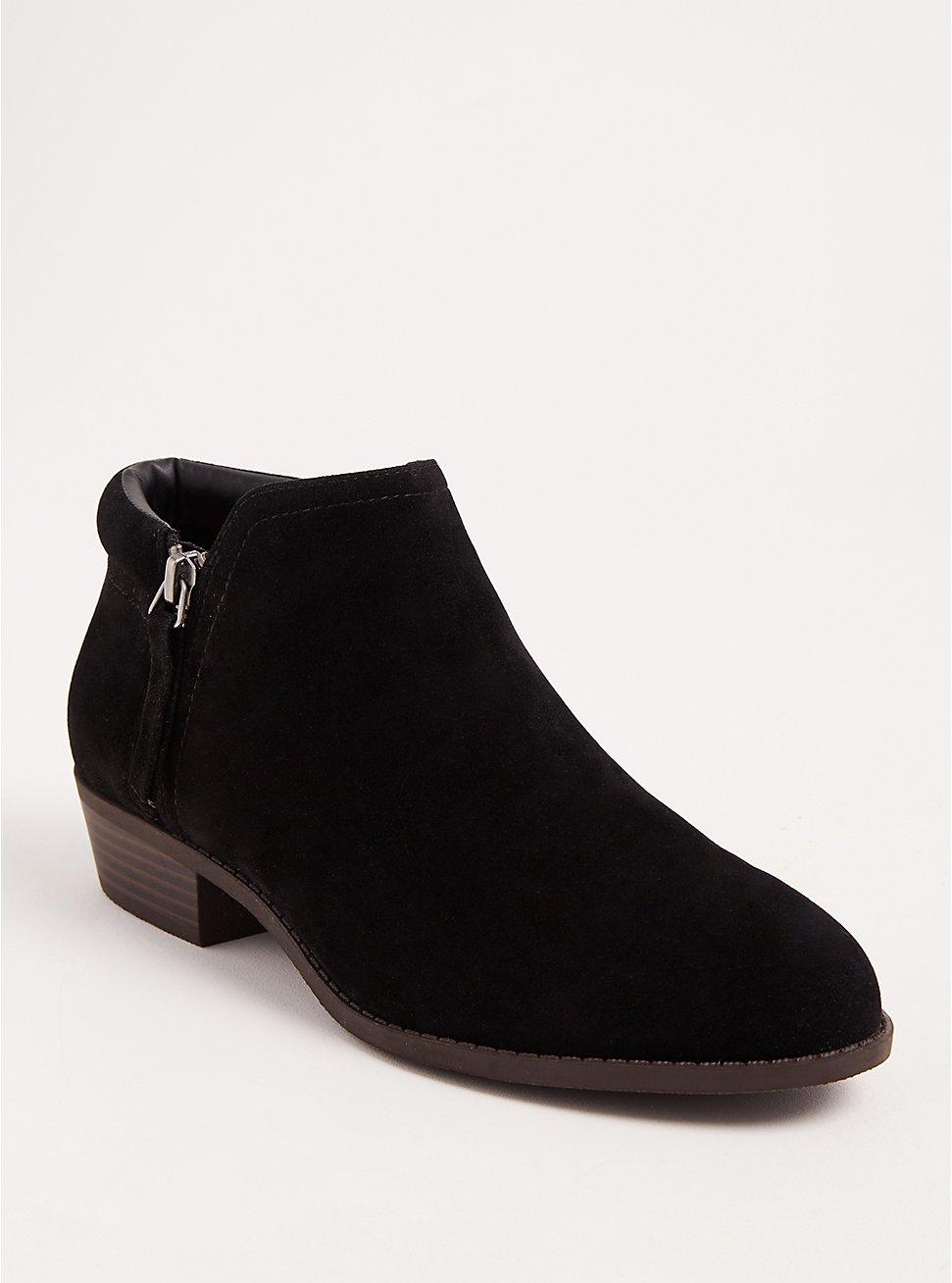Black Double Zip Bootie (WW), BLACK, hi-res